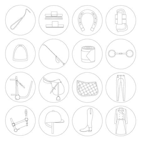 riding boot: Horse riding linear icons on white background. Illustration