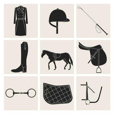 Negen zwarte vlakke pictogrammen van paardrijden apparatuur in grijze vierkanten.