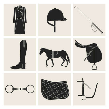 elite sport: Nine black flat icons of horseback riding equipment in gray squares.