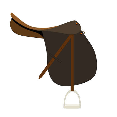 rear wing: Flat icon of saddle for horse riding. Illustration