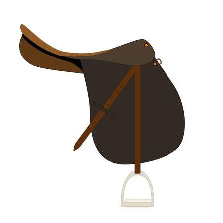 saddle: Flat icon of saddle for horse riding. Illustration