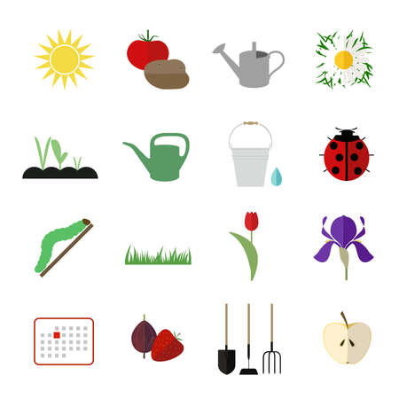 tomato caterpillar: Set of gardening flat icons Illustration