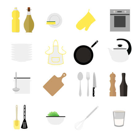 olive oil: Set of flat kitchen icons.