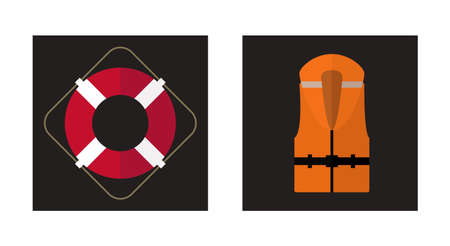 life jackets: Vector flat icons of lifebuoy and life vest. Illustration
