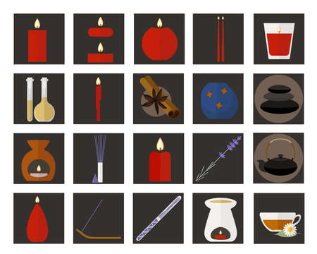 camomile tea: Set of flat icons of items for aromatherapy Illustration