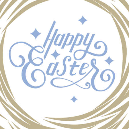 birds nest: Hand written lettering Happy Easter and stars and birds nest around it. Illustration