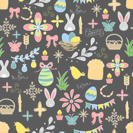 pale colors: Seamless pattern with Easter doodles in pale colors scattered on a dark gray background.