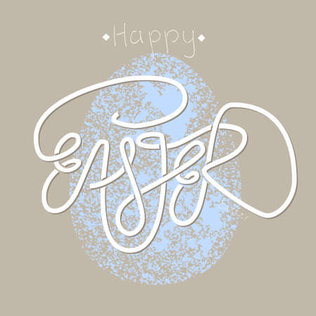 crumbly: Poster design with sprawling hand lettering Easter and pale blue crumbly easter egg.