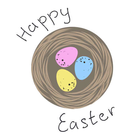 birds nest: Flat icon of birds nest with three spotted  Easter eggs in blue, yellow and pink colors.