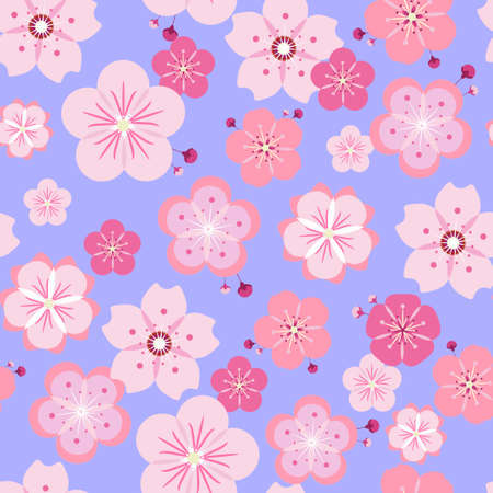 pestel: Seamless pattern with different stylized cherry flowers scattered on pale violet background. Hanami pattern. Illustration