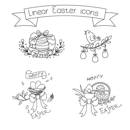 compiled: Collection of linear Easter icons compiled in several compositions. Decorative elements for greeting card design.