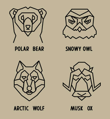 Linear polygonal icons of arctic animals heads. Black lines on beige squares.