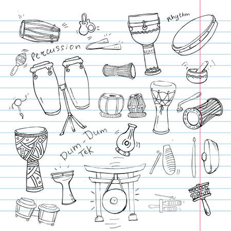 Hand drawn doodles collection of different kinds of African, Indian, Brazilian and Oriental drums.
