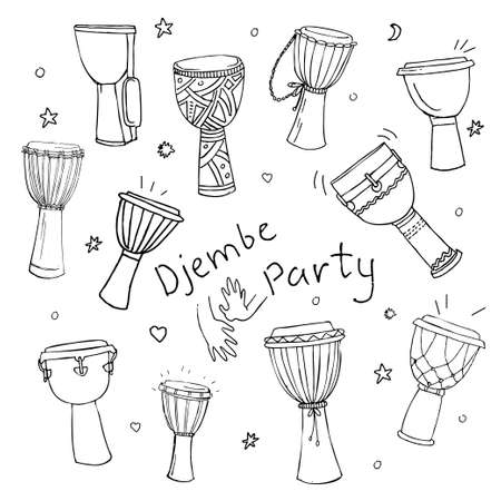 djembe: Hand drawn doodles collection of different kinds of African djembe drums.