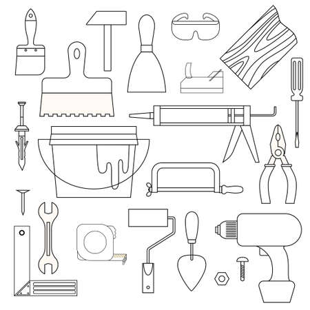 wood board: Collection od linear icons of necessary tools for house remodeling scattered on white background. Illustration