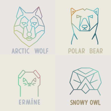 north pole sign: Collection of polygonal gradient  designs of arctic wolf, polar bear, snowy owl and ermine.