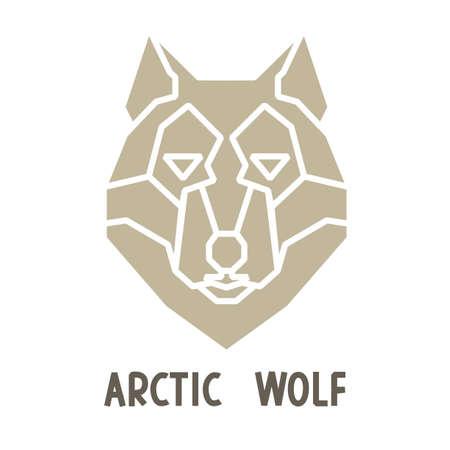 north pole sign: Grayish beige shape of arctic wolf. Decorative polygonal  design.