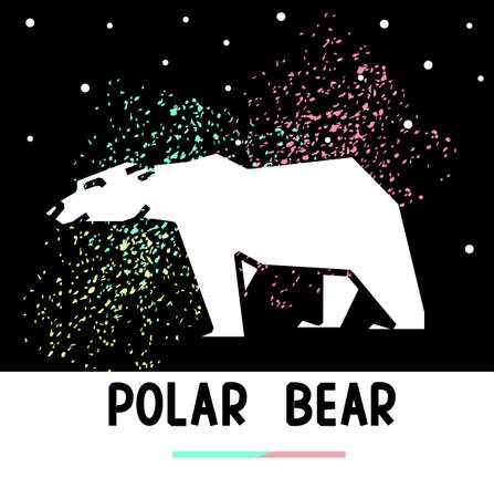 aurora borealis: Walking polar bear and night sky with aurora borealis. Polar bear polygonal  design.