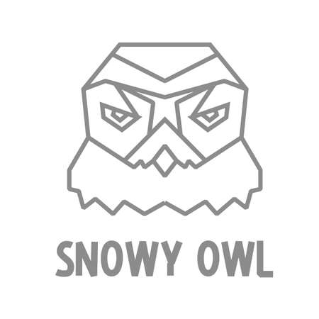 north pole sign: Snowy owl icon design in polygonal style.
