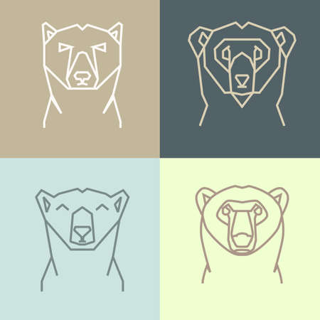 north pole sign: Collection of four linear polygonal icons of polar bear head. Four linear  of happy, serious, confused and tranquil bear on blue and beige squares.