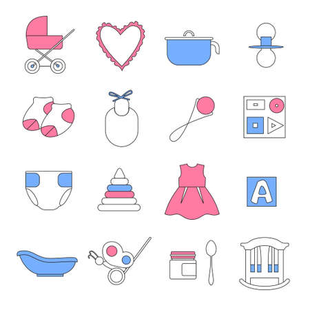 stuff toys: Collection of linear icons filled with pink and blue colors. Clothes, toys, food, items for newborn baby.