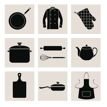 black boards: Collection of black silhouettes of kitchen devices and clothes. Set of black flat icons on pale gray squares. EPS 10.
