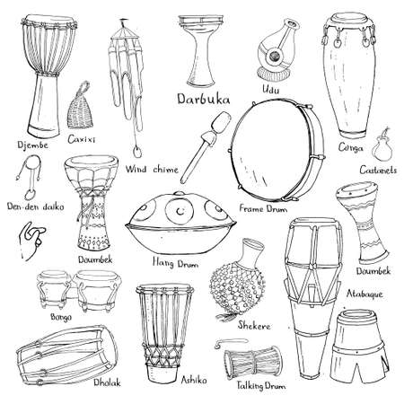 Hand drawn sketches of traditional ethnic percussion instruments with their names. Stock Illustratie