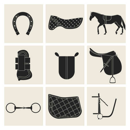 snaffle: Collection of flat black icons of equipment for horse. Saddle, horse shoes, bridle, snaffle, sweat cloth, gel, foot protection.