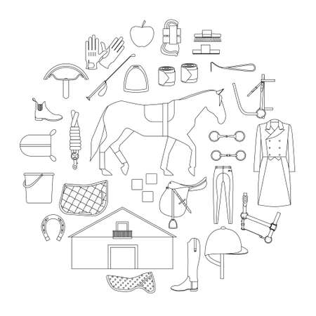 reins: Circle filled with linear icons of equipment and care products for horses and special clothes for equestrian sport. Illustration