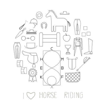 reins: Horse riding linear icons collection in a circle shape. Equipment, special clothes and care products. EPS 10.