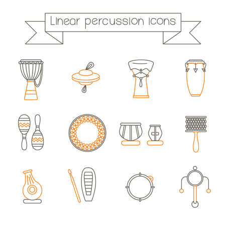 Collection of traditional percussion instruments in black and orange colors. Linear icons set.