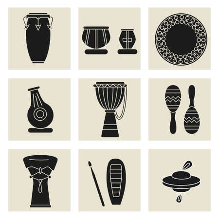 Collection of nine percussion instruments. Black silhouettes of conga, indian tablas, daf drum, maracas, djembe, udu, guiro,cymbals and doumbek.