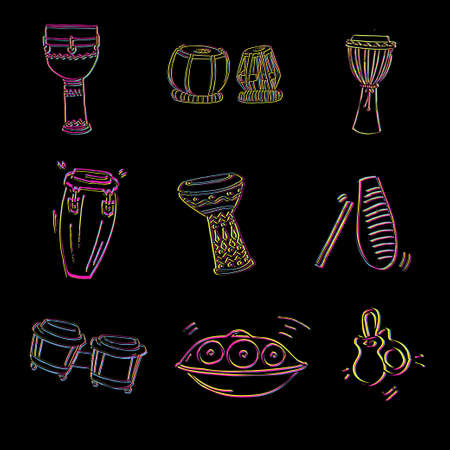 darbuka: Collection of traditional ethnic drums and percussion in yellow, magenta, black and cyan colors. Illustration