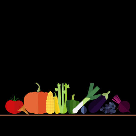 vegetable marrow: Fruits and vegetables arranged in series in the order of rainbow colors on black background. Flat icons of healthy food.