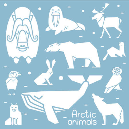 north pole sign: Collection of white shapes of arctic animals. Illustration