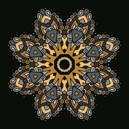 pale ocher: Hand drawn decorative mandala in pale orange, grayish blue, dark brown colors. Illustration