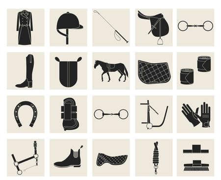 Het verzamelen van paardrijden vistuig en paardrijden kleding. Stock Illustratie