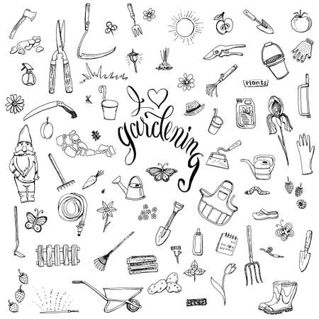 fertilizers: Hand drawn doodles of gardening gear. Lettering I love gardening. Tools, plants, pets and decorative elements for garden.