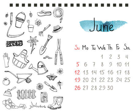 hand trowel: Calendar page template with hand drawn gardening doodles.