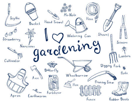 hand trowel: Hand drawn doodles of gardening tools, plants, pests in blue color and with names of tools.