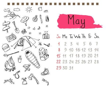 pointed arrows: Calendar page template for May month with hand drawn doodles of backpacking gear.