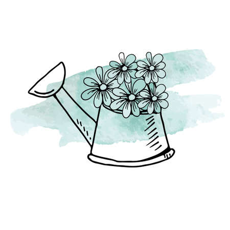 Hand drawn doodles of watering can with five garden flowers on pale blue watercolor stain.