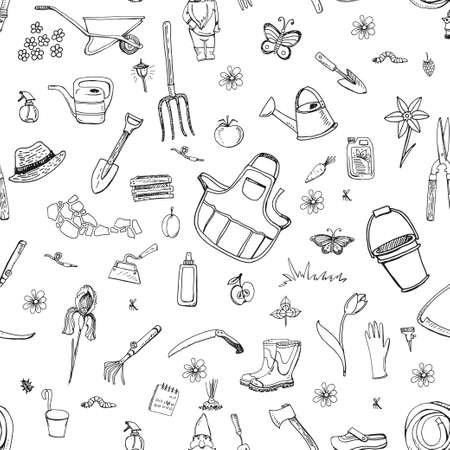 Balck and white seamless pattern with hand drawn doodles of gardening tools, plants, pests.