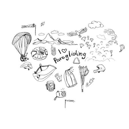 paragliding: Heart with paragliding doodles and lettering I love paragliding. Illustration