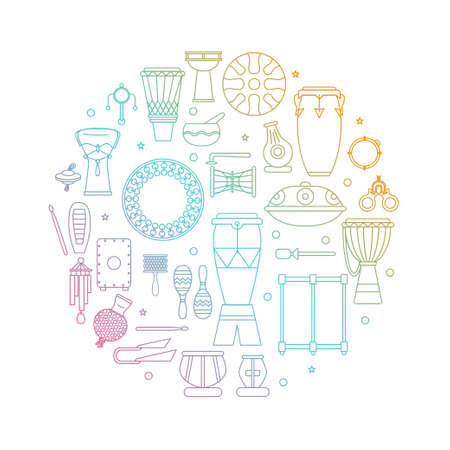 Cymbals: Collection of traditional percussion instruments arranged in circle with gradient color transition. Illustration