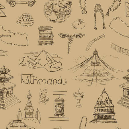 stupa: Seamless pattern with traditional food, souvenirs, religious buildings of Nepal.