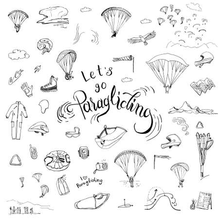 Lets go paragliding. Hand drawn lettering and doodles of paragliding gear.