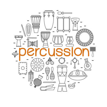 Collection of traditional percussion instruments arranged in circle with big orange word percussion in a center.