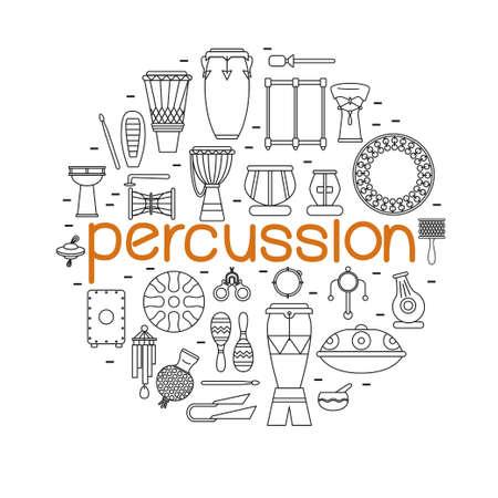 Inning van de traditionele percussie-instrumenten die in cirkel met grote oranje woord percussie in een centrum.