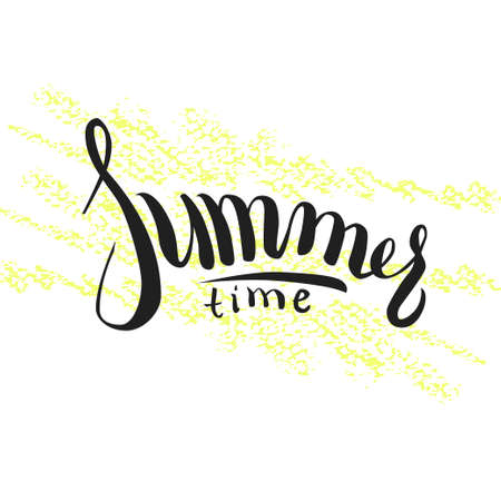 Hand drawn lettering Hello summer on yellow pencil strokes. Ilustração